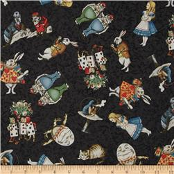 Alice in Wonderland Tossed Characters Black