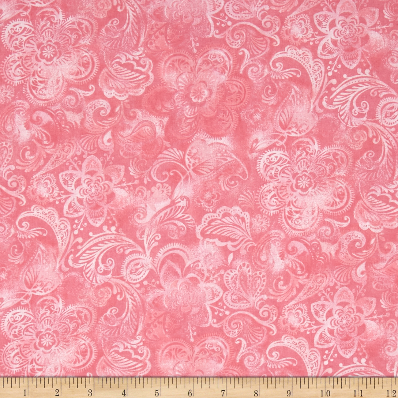 44'' Wide Quilt Fleur Pink Fabric by Santee in USA