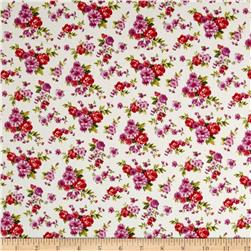 Cotton Stretch Poplin Floral Snow White/Orchid