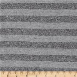 Cotton Blend Yarn Dyed Jersey Knit Stripe Grey