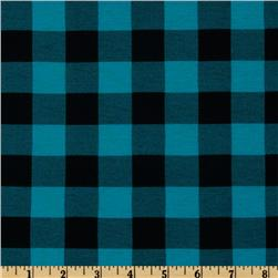 Rayon Blend Jersey Knit Plaid Black/Turquoise