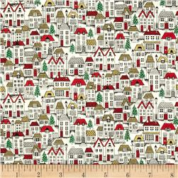Christmas Metallic Houses Cream
