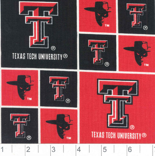 Collegiate Cotton Broadcloth Texas Tech University Red Raider Fabric by Sykel in USA