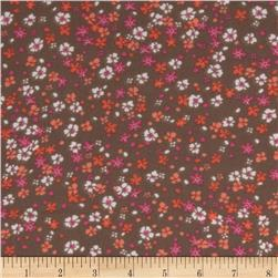 Chiffon Floral Chocolate/Pink/Orange/White Fabric