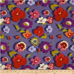 Secret Garden Large Floral Denim Purple Fabric