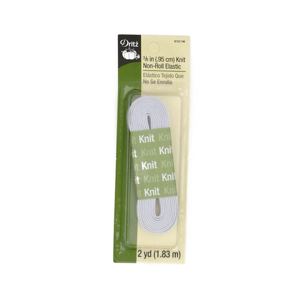 "Knit Non-Roll Elastic 3/8""X2yd-White"