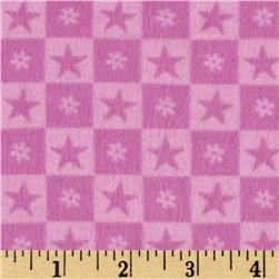 Teddy Bear Princess Flannel Checkered Stars Pink Fabric