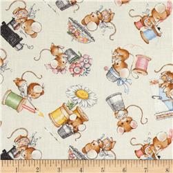 Anybody Can Sew Mice Notions All Over Cream