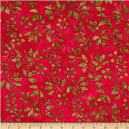 Moda Joy Batiks Cranberry Bush Poinsettia Red