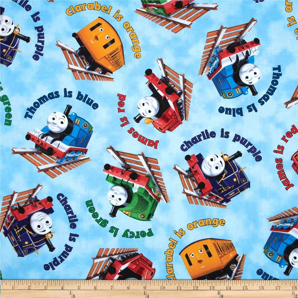 Thomas friends the color express color names toss blue for Train print fabric
