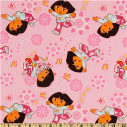 Nickelodeon Dora Daydream Allover Pink Fabric