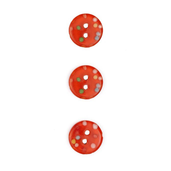 Fashion Button 1/2'' Confetti Sparkles Orange