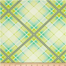 Heather Bailey Up Parasol Summer Plaid Turquoise Fabric