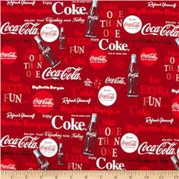 Coca Cola Bottle Phrases Allover Red