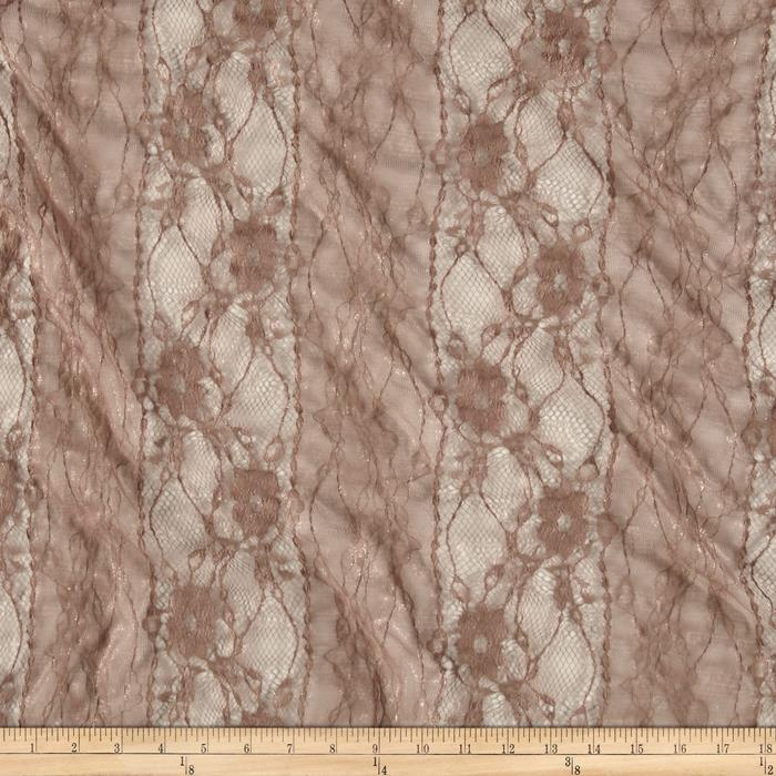 Stretch Floral Lace Taupe Glitter