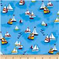 Timeless Treasures Mini Marina Sailboats Blue