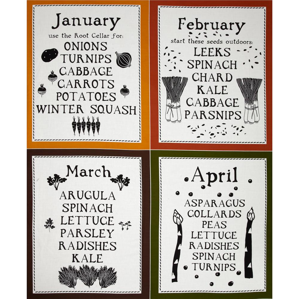 Lush Harvest January - April Calendar 24'' Panel