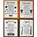 Lush Harvest January - April Calendar 24'' Panel Orange