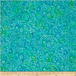 Batavian Batiks Scrolly Leaves Bright Aqua/Teal