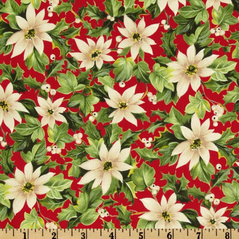 Moda Season's Greeting Poinsettia Cardinal Red