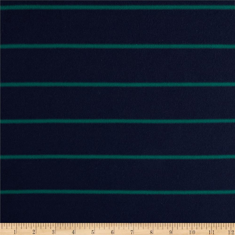 Rayon Lycra Spandex Hatchi Knit Yarn Dyed Stripes Navy/Green
