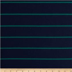 Rayon Lycra Hatchi Knit Yarn Dyed Stripes Navy/Green