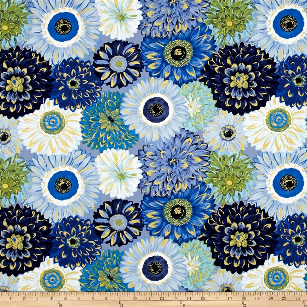 Michael miller valencia dahlia mix blue metallic for Modern fabrics textiles