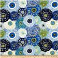 Michael Miller Valencia Dahlia Mix Blue Metallic