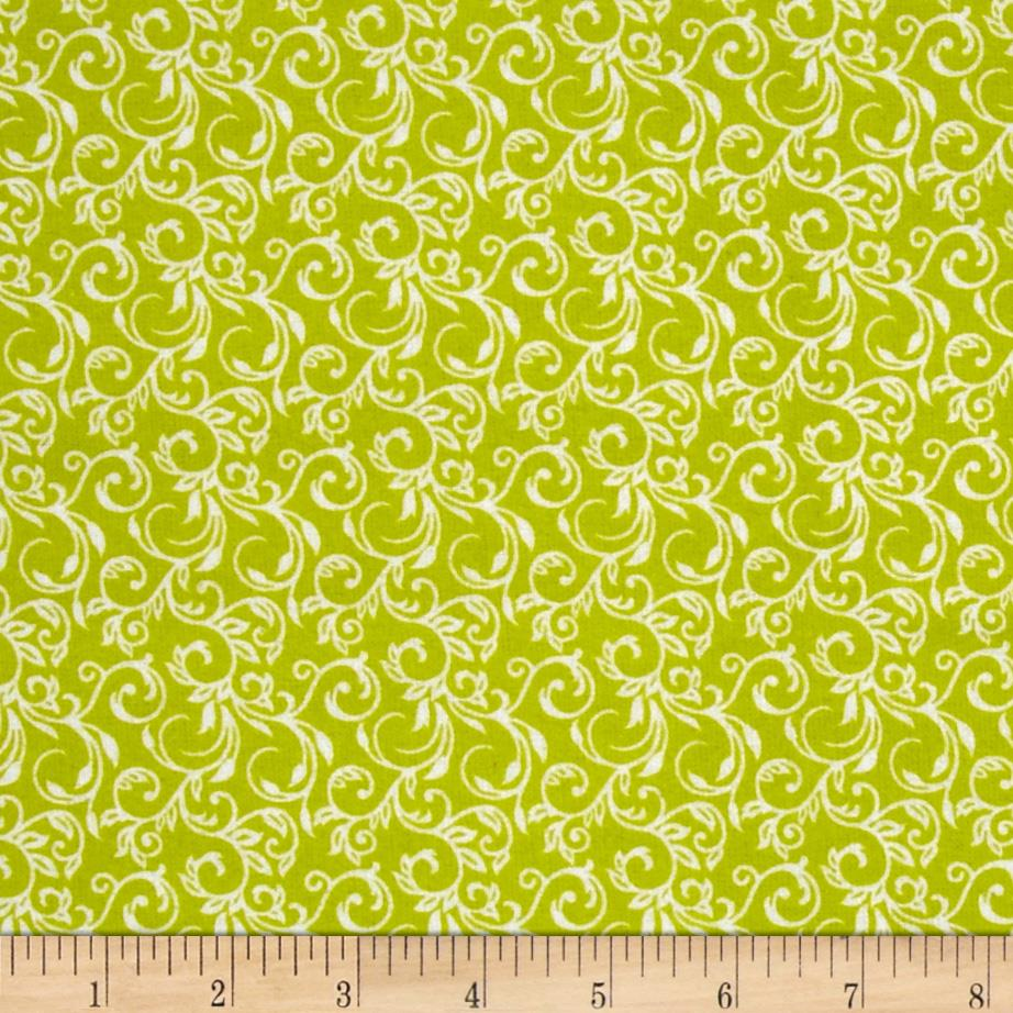 Cuddle Me Basics Flannel Scroll Lime
