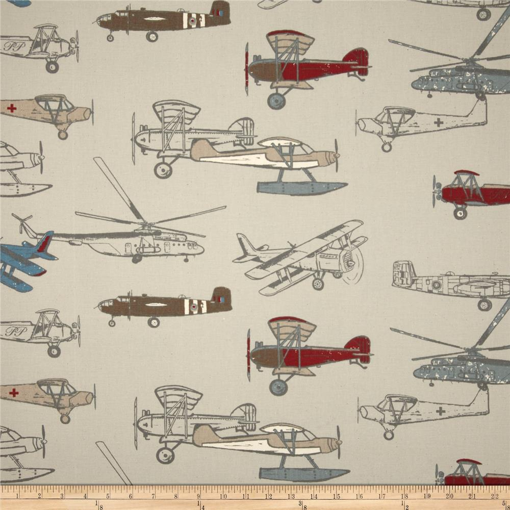 Premier prints vintage air pewter natural discount for Airplane fabric by the yard