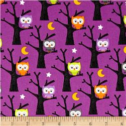 Riley Blake Ghouls & Goodies Glow in the Dark Owl Purple