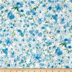 Kaufman London Calling Lawn Watercolor Floral Blue