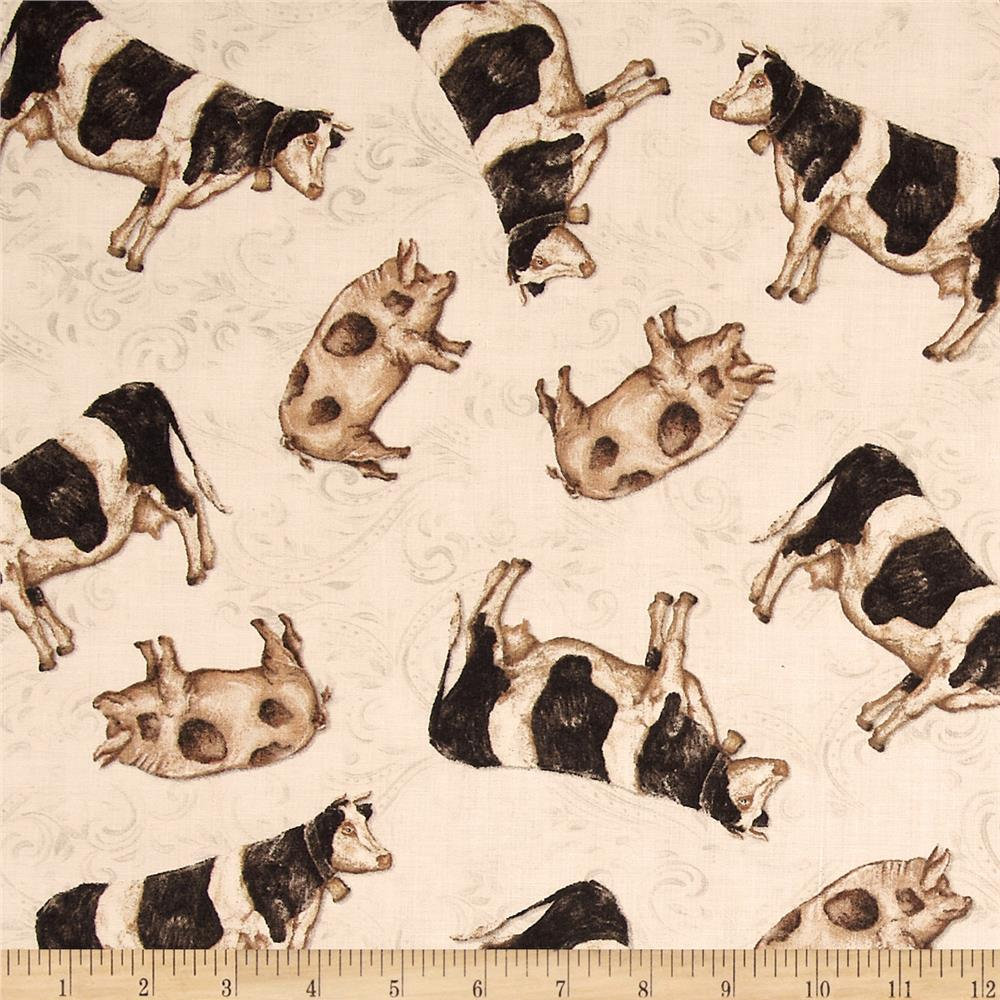 Farm Chic Pigs & Cows Black/Cream