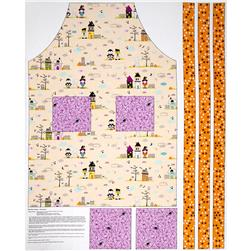 Riley Blake Halloween Magic Apron Panel Orange