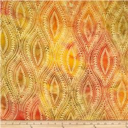 Indian Batik Tribal Medallion Metallic Yellow/Orange