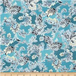 Mary May Metallic Tapestry Leaf Teal/Silver