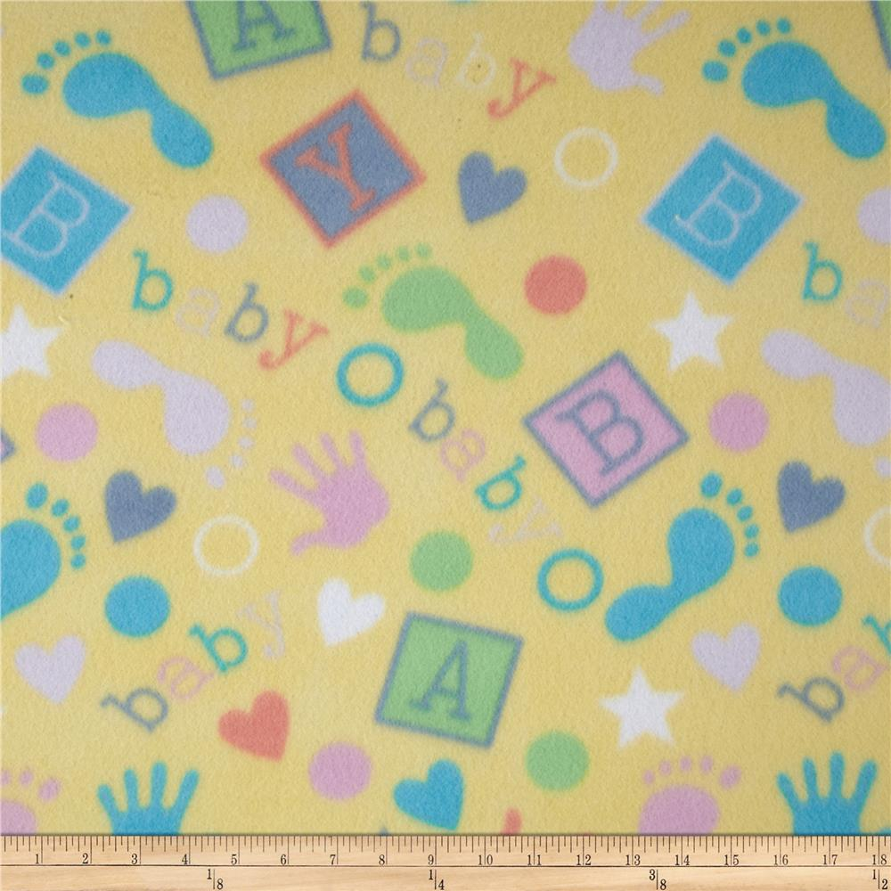 Polar fleece prints baby prints yellow discount designer for Cheap baby fabric