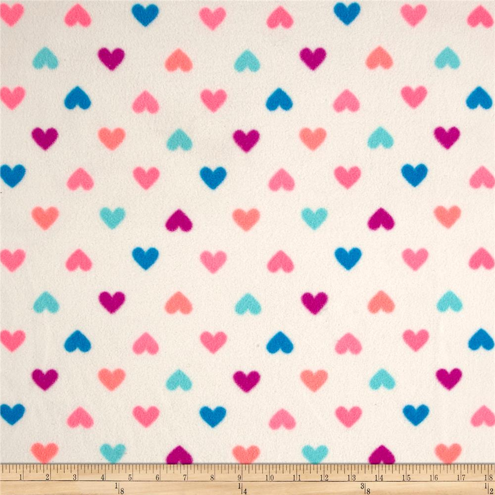 Polar Fleece Hearts Neon/Multi Fabric