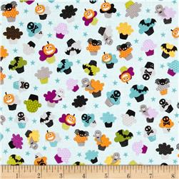 Riley Blake Halloween Magic Halloween Cupcakes Blue Fabric