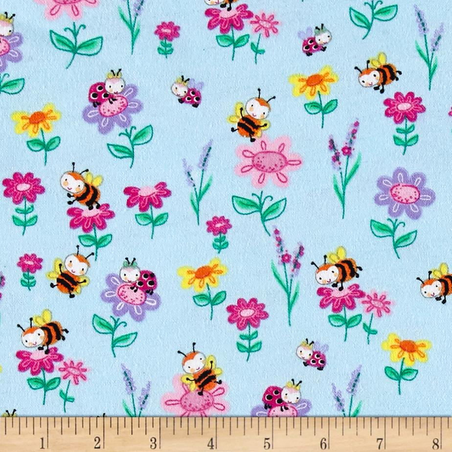 Comfy Flannel Bee's & Flowers Blue Fabric