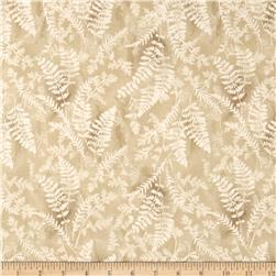 Timeless Treasures Mountain Getaway Cabin Ferns On Textured Ground Beige