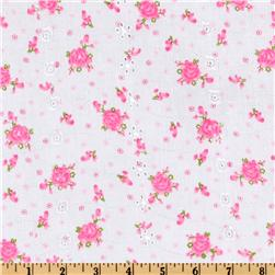 Floral Eyelet Pink Fabric