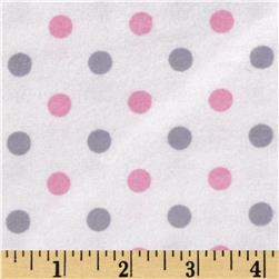 Flannelland Happy Dots White/Pink