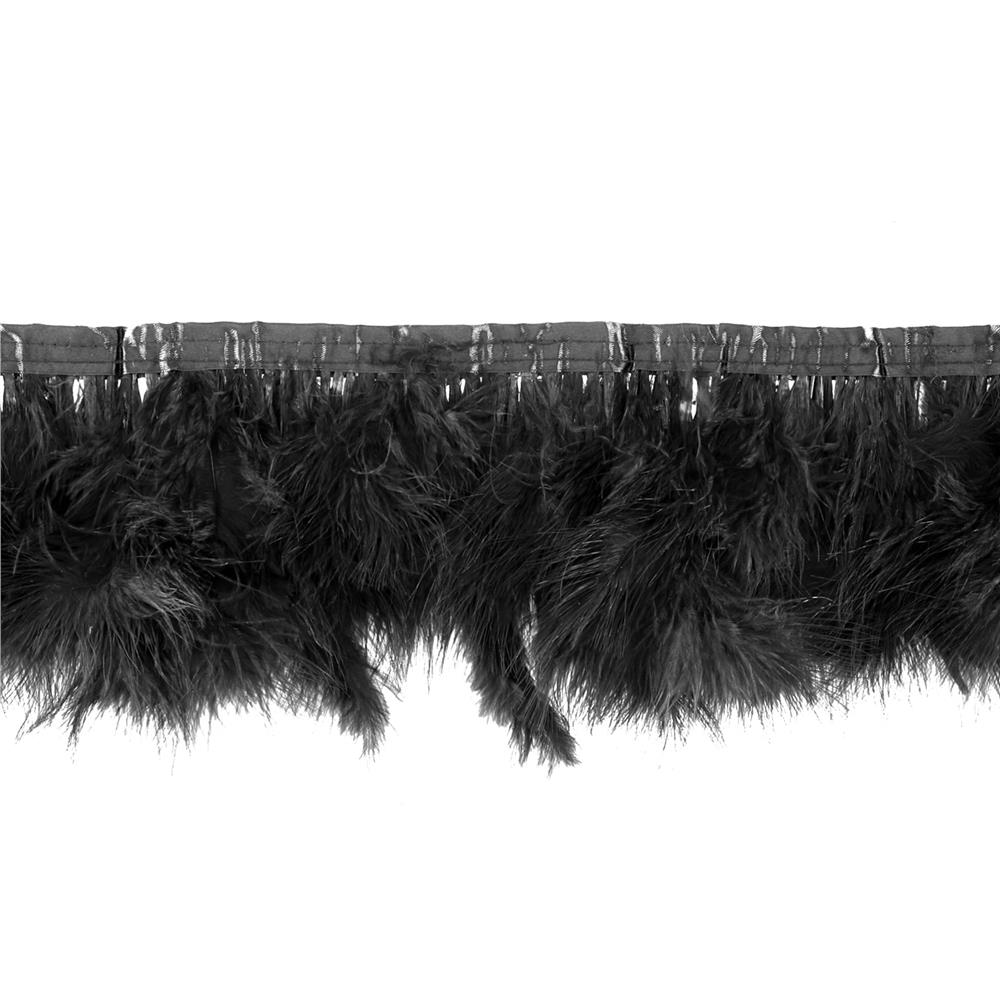 "8"" Feather Trim Black"