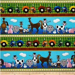 The Farm at Whistle Pig Creek Flannel Barnyard Border Multi