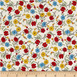 "Aunt Grace 59"" Quilt Back Flowers Red"
