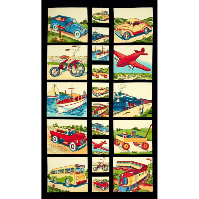 Michael Miller Transportation Panel Retro Yellow
