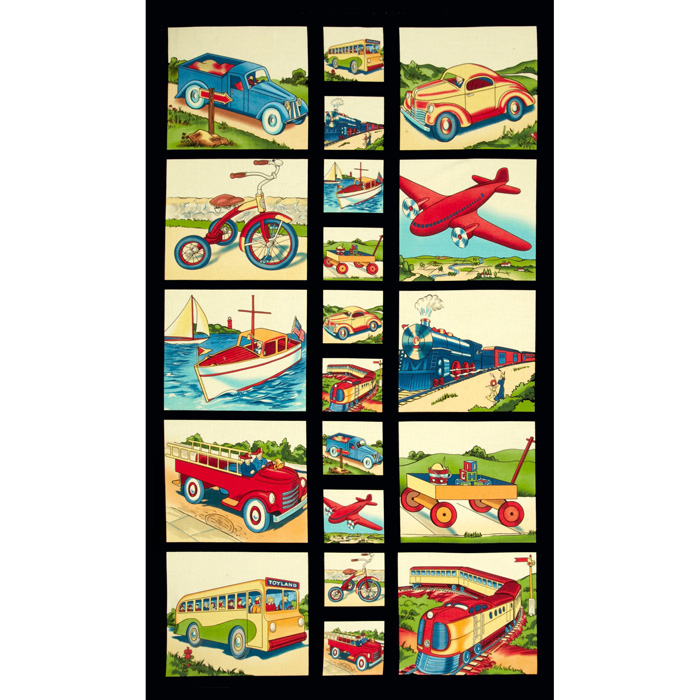 Michael Miller Transportation Panel Retro Yellow Fabric