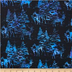 Bali Batiks Deers & Trees Black/Blue