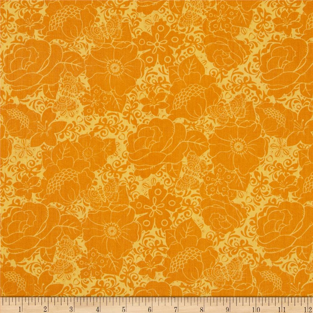 Mint To Be Floral Damask Orange